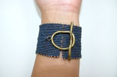 matte navy blue hand beaded bracelet with large brass clasp - one of a kind Fabric Bracelets, Bead Loom Bracelets, Bracelet Clasps, Fabric Jewelry, Macrame Bracelets, Handmade Bracelets, Handmade Jewelry, Earrings Handmade, Beaded Tassel Necklace