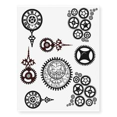 Clock, Pocket watch temp tats Temporary Tattoos created by ClassicPaper. Arte Steampunk, Steampunk Gears, Steampunk Makeup, Steampunk Drawing, Steampunk Bedroom, Steampunk Images, Steampunk Furniture, Steampunk Gadgets, Steampunk Crafts