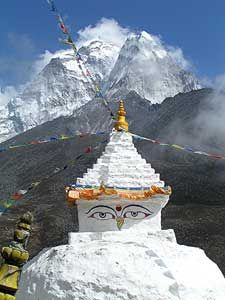 Ama Dablam is seen behind a shrine in Dingboche - Nepal
