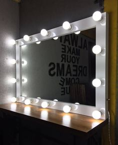 mirror with lights-white hollywood mirror-white vanity mirror with lights-Makeup Artist Mirror-Lighted Hollywood style Glamour vanity mirror