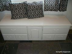 I wish I could pin both the before and after! This began as a dresser/changing table. The owner cut off two of the bottom drawers and created a beautiful bench. Love it.