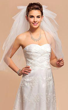 Five-tier Elbow Wedding Veil With Cut Edge – USD $ 19.99