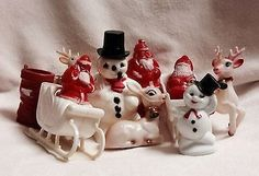 10 Vintage Rosbro Hard Plastic Christmas Ornaments Candy Containers | #1691305036