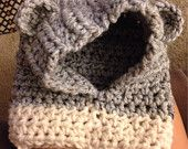 Crochet hood cowl - Handmade crochet bear animal hood beanie cozy warm hat cowl for baby 12-18 months white and grey