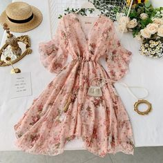 Lucuna - Elbow-Sleeve Floral A-Line Dress Pretty Outfits, Pretty Dresses, Beautiful Dresses, Girls Fashion Clothes, Women's Fashion Dresses, Holiday Dresses, Spring Dresses, Dress Summer, Spring Summer