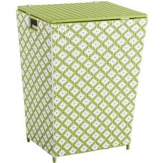 Pier 1 Imports San Martin Wicker Laundry Hamper ($90) ❤ liked on Polyvore featuring home, home improvement, storage & organization and green