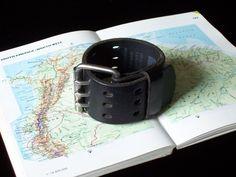 Rocker/Biker Black Leather Wrist Belt Cuff Bracelet by beadbooty.etsy.com.