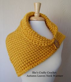 Autumn Leaves Neck Warmer - free Tunisian crochet pattern at She's Crafty Crochet.