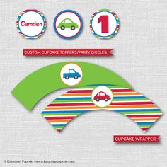 Personalized Cars and Trucks Party Cupcake Toppers Cupcake