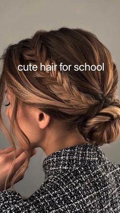 Cute Hairstyles For Medium Hair, Fancy Hairstyles, Medium Hair Styles, Curly Hair Styles, Hairdos, Hair Upstyles, Aesthetic Hair, Hair Videos, Hair Looks