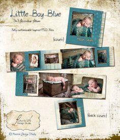 3x3 Mini Accordion Album template - Little Boy Blue Baby Album by FlourishDesignStudio on Etsy