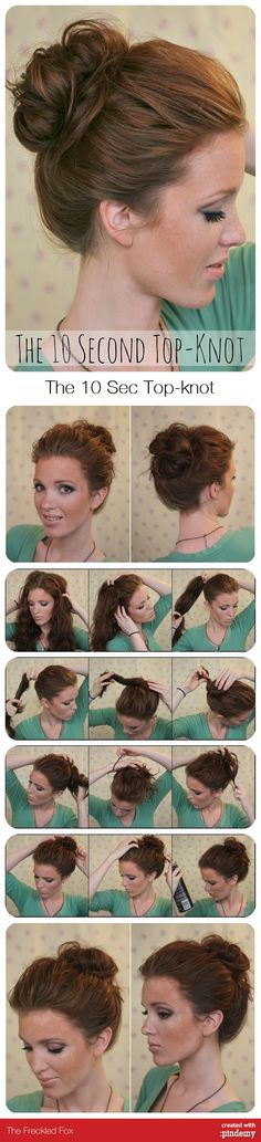 Diy The 10 Sec Top-knot Tutorial via pindemy