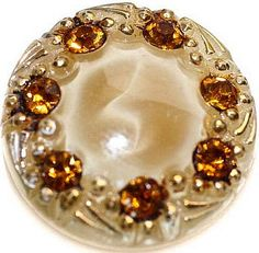 Vintage Button ~ Glass Moonglow with amber colored rhinstones