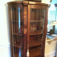 Charmant Antique Curio Cabinet Curved Glass | Antique Curved Glass Oak Curio Cabinet  With 4 Wood Shelves