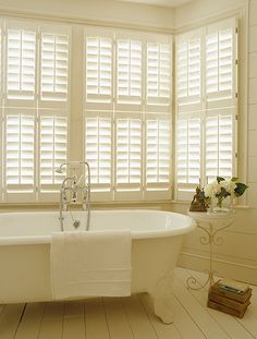 Tnesc New England Tier on Tier painted bathroom shutters 64mm blades