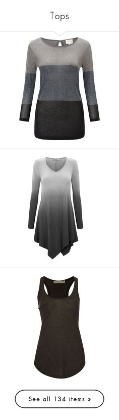 """""""Tops"""" by lulugurl98 ❤ liked on Polyvore featuring tops, sweaters, grey, women, block sweater, colorblock sweaters, lurex sweater, gray sweater, striped sweater and shirts"""
