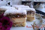 Sheet cake of meringue, sponge and vanilla cream Walnut Kernels, Recipe Sheets, Meringue Cake, Romanian Food, Vanilla Cream, Cream Recipes, Tiramisu, Baking Soda, Pastries