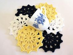 Crochet Coasters Nautical Wheel Navy Blue Yellow White Mug Rug