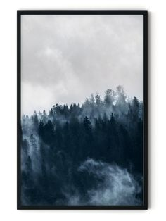 Foggy Forest Framed Wall Art Long Fade, Foggy Forest, Framed Wall Art, Fantasy Art, Digital Prints, Trees, World, Drawings, Painting