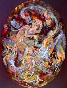 Mahmoud Farshchian: Forging The Bond Of Love, Persian Miniature Art Print Victorian Paintings, Beautiful Dark Art, Baroque Art, Iranian Art, Poster Prints, Art Prints, Decoupage, Orient, Fantastic Art