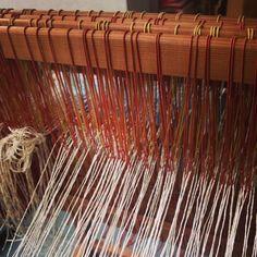 Threading 4 shaft sample loom at Stine Linnemann Studio
