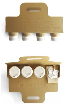 A clever, and less-spillage-inclined solution to the stressful task of carrying out multiple cups of coffee. (As a bonus, it also offers acres of branding space.) (thank you jon and sunset) #Coffeeideas