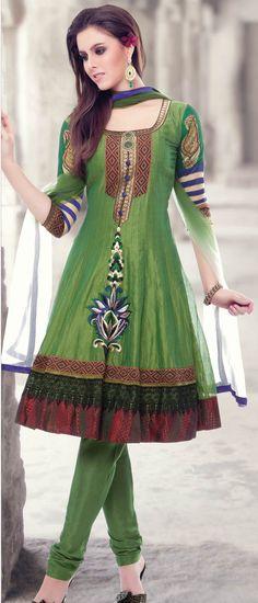 Parrot Green Chanderi Art Silk Readymade Churidar Kameez