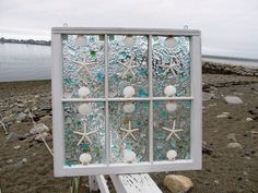 Sea Glass Window. $250.00, via Etsy.  This would be good for a privacy window.