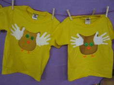 Preschool Owl T-shirt with kids hand prints! After learning about owls we made these adorable owl t-shirts with a stencil and the kid's handprints. Then we used puffy and or slick fabric paint to apply the eyes, nose, and feet. Too cute!