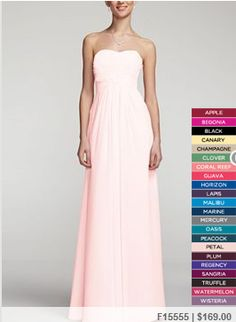 David's Bridal bridesmaid dresses  Guava, coral reef and petal pink