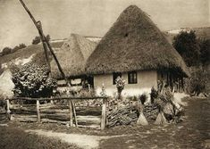 Traditional thatched houses in Romanian countryside Vernacular Architecture, Historical Architecture, Thatched House, History Photos, Bucharest, Traditional House, Countryside, Landscape, World