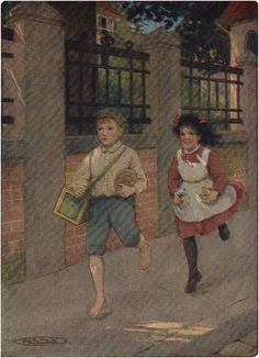OFF THEY STARTED, AND SOON HEIDI WAS PULLING THE DOOR-BELL Ilustrado por Maria L Kirk