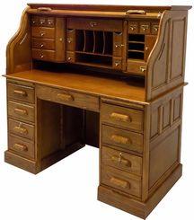 """53-3/4""""W Deluxe Oak Roll Top Desk - In Stock!"""