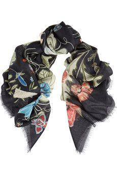 Gucci Flora Knight wool and silk-blend scarf | NET-A-PORTER
