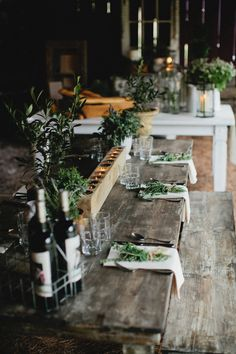 Olive branches, herbs and candles for a rustic table