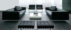 Haero leather sofa by Alivar with Barcelona Mies van der Rohe _