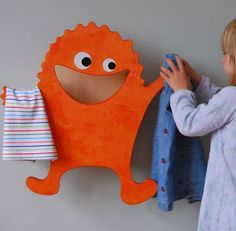 Cute and Funny Little Laundry Monster Clothes Hanger for Morning Bedroom and Bathroom