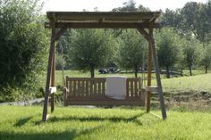 How nice...  this swing in the green back yard... between the cows... what a view... so relaxed... this is Annapart.com  in Schellinkhout in The Netherlands!!! Cows, Porches, Decks, Netherlands, Gazebo, Backyard, Exterior, Outdoor Structures, Nice