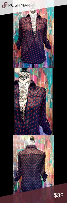 """Sheer cross over top size xs roll up sleeves japna womens size xs blouse cross over sheer roll up tab sleeve top  Hi lo hem  Size xs will also fit size small  100% polyester Navy with red floral leaf print Handmade in India  Measured laid flat Armpit to Armpit- 18"""" Length from shoulder to hem - 24 """"  Excellent pre loved condition without any noted flaws.  Please see photos for more details, and feel free to ask any questions. japna Tops Blouses"""