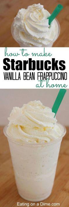 How to make starbucks vanilla bean frappuccino at home that tastes amazing. This… How to make starbucks vanilla bean frappuccino at home that tastes amazing. This easy copy cat recipe is easy to make at home. Frappuccino Recipe At Home, Vanilla Bean Frappuccino Recipe, Smoothie Drinks, Smoothie Recipes, Köstliche Desserts, Dessert Recipes, Plated Desserts, Drink Recipes, Dessert Blog