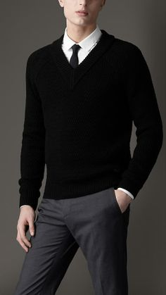 Burberry London Wool Silk Ribbed Knit Sweater