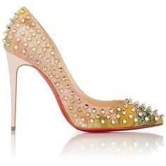 Christian Louboutin Women's Follies Spikes Pumps (£910) ❤ liked on Polyvore featuring shoes, pumps, heels, nude, nude high heel pumps, high heel pumps, multi-color pumps, floral print pumps and pointy toe pumps