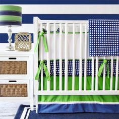 Preppy Navy & Green Baby Bedding Set on Etsy, $192.00
