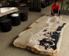 Petrified Wood Dining Table - Houzz