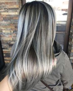 60 Shades of Grey: Silver and White Highlights for Eternal Youth - - Dark Brown Hair With Ash Blonde Highlights. Brown Hair With Ash Blonde Highlights, Grey Blonde, Golden Brown Hair, Blonde Color, White Highlights, Platinum Highlights, Blonde Streaks, Caramel Highlights, Blonde Ombre