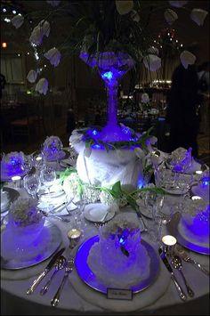 Arctic Winter Wedding Theme Wedding Table Decorations...I love the lights!