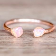 Rose Gold Little Raw Opal Ring || also comes in Gold and Silver || Available in our 'Mermaid' and 'Earthly Treasures' Collections || www.indieandharper.com