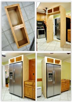 How To Build In Your Fridge With A Cabinet On Top How To Build In Your Refrigerator With A Cabinet On Top . for the sides of the built-in fridge, pick up two x pieces of plywood & you can use a cabinet from your local Habitat For Humanity Store . Diy Kitchen Island, Diy Kitchen Storage, Diy Kitchen Cabinets, Kitchen Redo, Kitchen Furniture, New Kitchen, Kitchen Remodel, Furniture Decor, Plywood Furniture