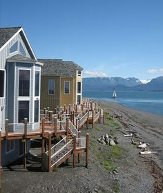 Homer Alaska - Land's End Resort beachfront hotel - Lodging at the end of the Homer Spit Alaska Travel, Alaska Cruise, Alaska Trip, Places To Travel, Places To Visit, Homer Alaska, North To Alaska, Desk In Living Room, Anchorage Alaska