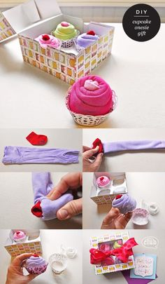 """DIY: """"onesie cupcakes""""-- perfect for a baby shower gift Cadeau Baby Shower, Idee Baby Shower, Baby Shower Gifts, Diy Shower, Craft Gifts, Diy Gifts, Onesie Cupcakes, Baby Clothes Cupcakes, Diy Cupcake"""